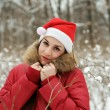 The girl in wood in a hat of Santa Claus — Stock Photo