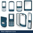 Blue cellphone icons — Stock Vector