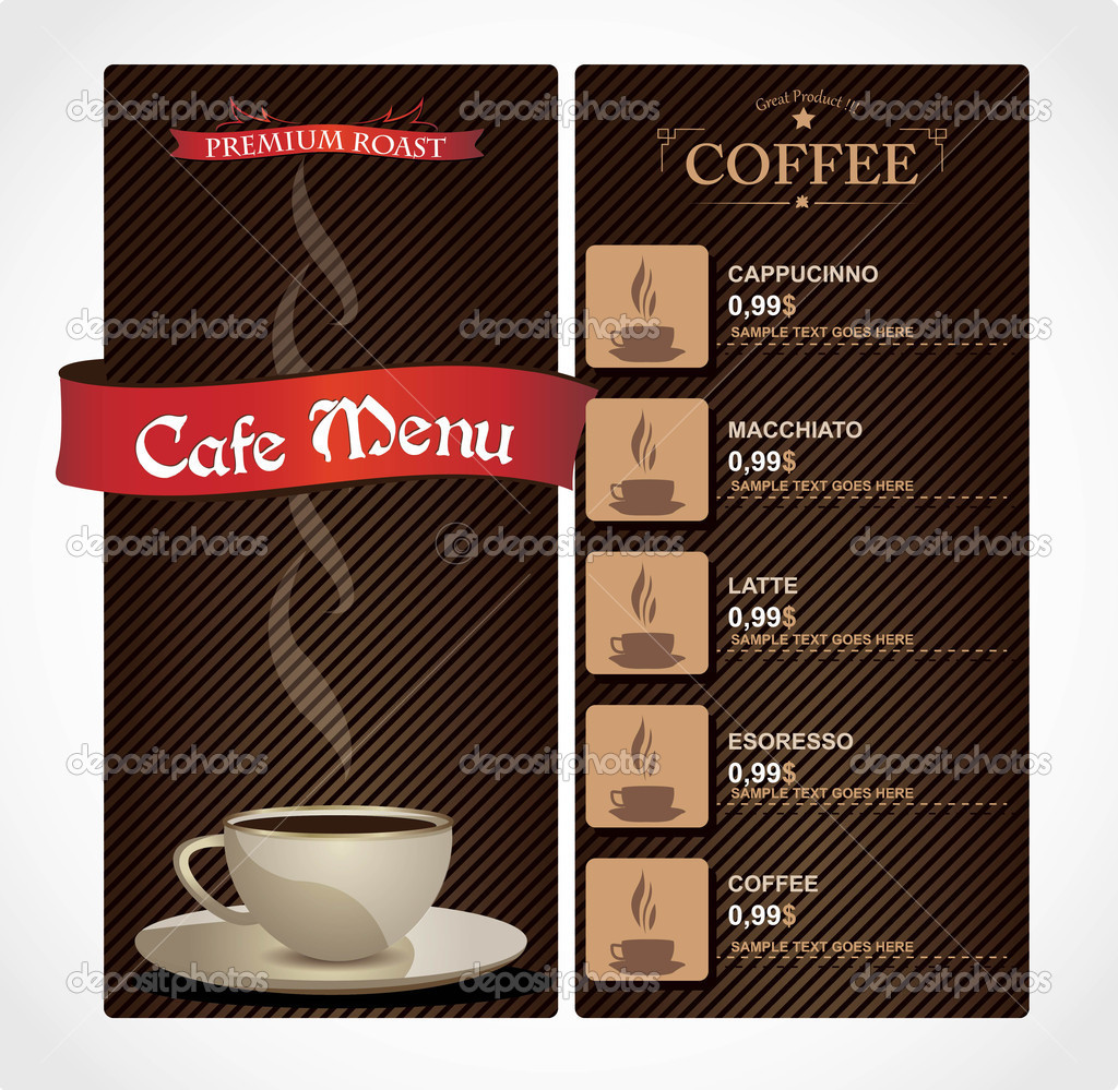 Coffee shop menu card — Stock Vector © cvijun #10209982