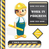 Construction worker and construction signs — Stock Vector