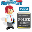 Stock Vector: Cartoon police Officer woman