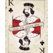 Vintage king of clubs, playing card — Stock Vector
