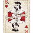 Vintage king of hearts, playing card — Stock Vector