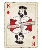 Vintage king of diamonds, playing card — Stock Vector
