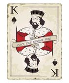 Vintage king of spades, playing card — Vector de stock