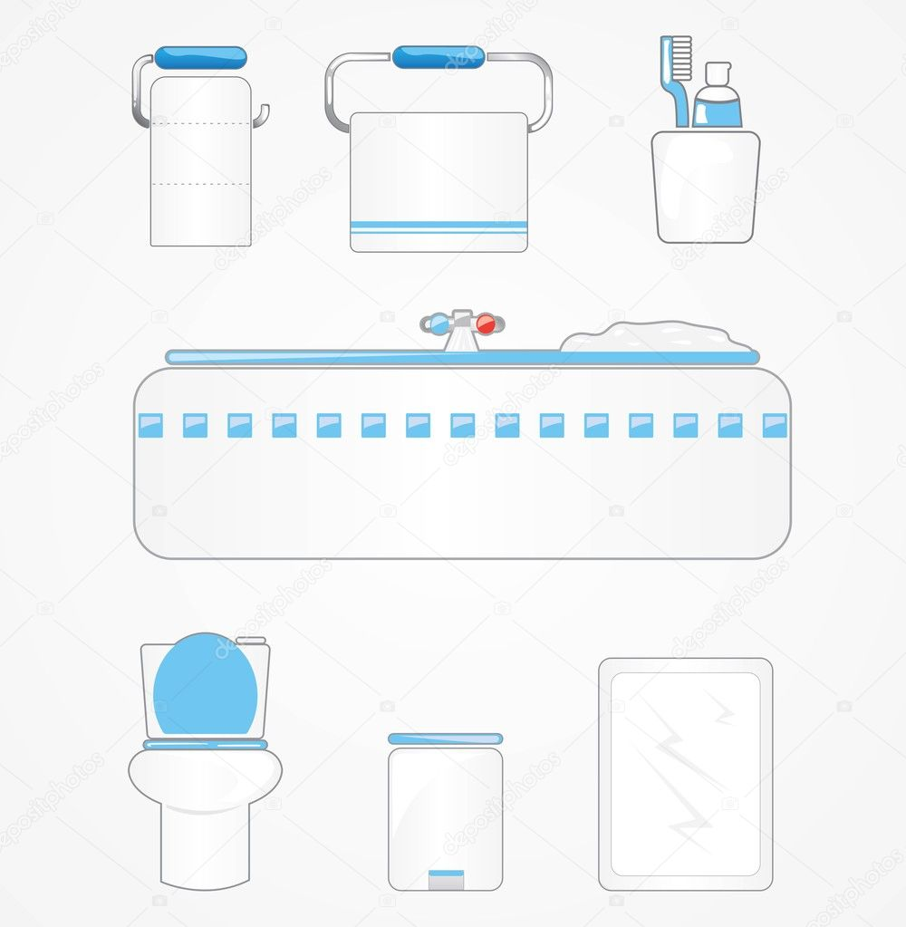 Collection of bathroom based icons and signs  Stock Vector #9539893