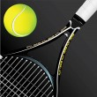 Stock Vector: Tennis racket and ball on black