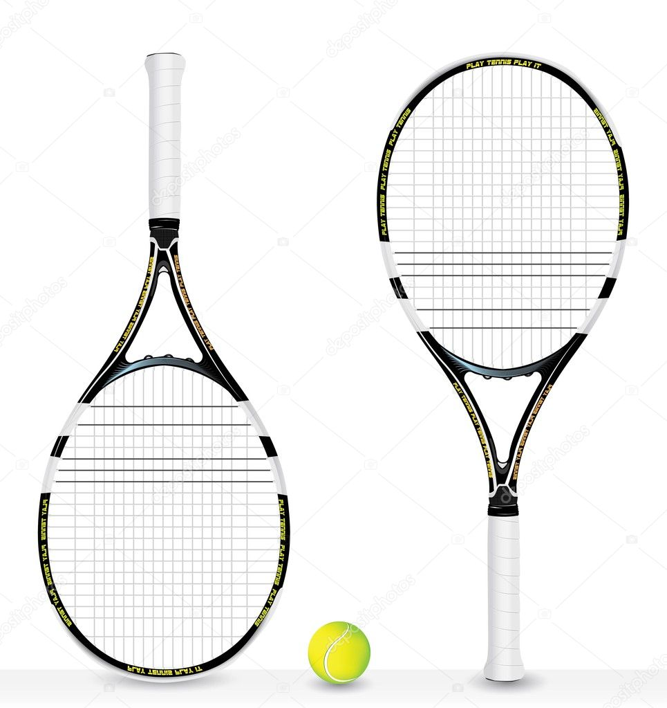 Realistic tennis racket and ball - vector  — Stock Vector #9884937