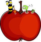Gusanos en apple — Vector de stock