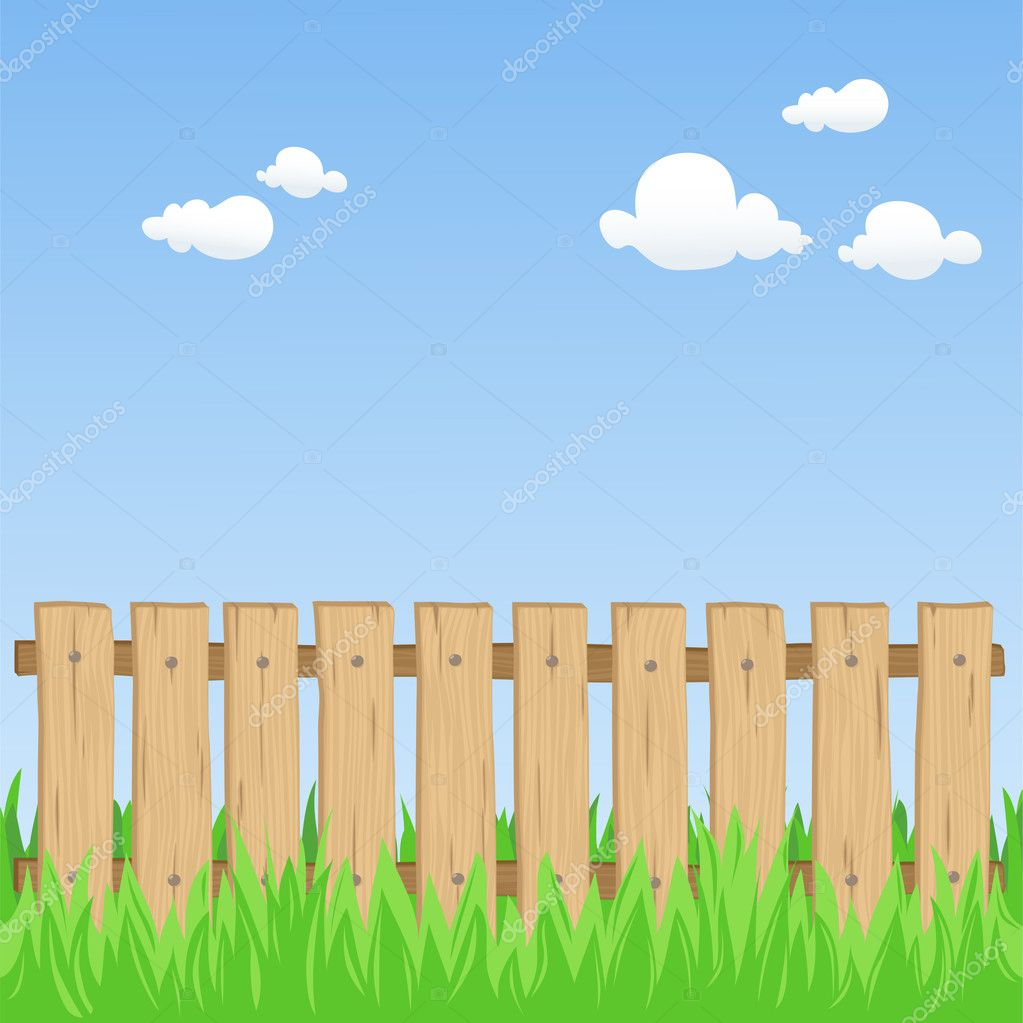 Wooden fence stock vector zsooofija 9834702 for Barda de madera para jardin