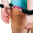 Girl in panties and handcuffs isolated on white — Stock Photo #10124356