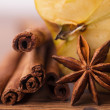 Closeup of cinnamon sticks and chocolate — Stock Photo #10218110