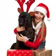 Woman with christmas dog — Foto Stock