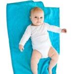 splendido caucasico neonato bambina isolata su bianco — Foto Stock