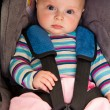 Infant child sitting in car seat - Stock Photo