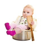 Infant in cooking pan isolated on white — Stock Photo