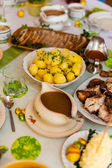 Deliciuously looking food on a decorated table — Stock Photo