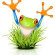 Stock Vector: Little tree frog on grass