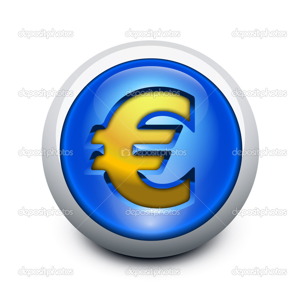 Glassy button Euro — Stock Vector #8650456