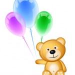 oso de peluche y globos de colores — Vector de stock