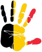 Hand print flag of belgium — Stock Vector