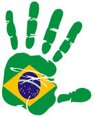 Handprint flag of Brazil — Stock Vector