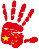 Hand print flag of china — Stock Vector