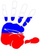 Hand print flag of Russia — Stock Vector