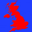 Red map of great britain on sea blue background — Stock Photo #10257569