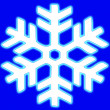 Big glowing snow flake on blue background — Stock Photo