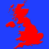 Red map of great britain on sea blue background — Photo
