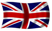 Flag of Great Britain in Wave — Stock Photo