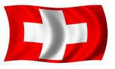 Flagge der Schweiz in der Welle — Stockfoto