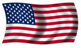 Flag of united states of America in wave — Stock Photo