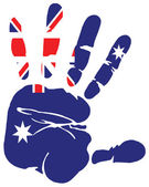 Hand print flag of australia — Stock Vector