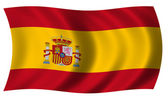 Spain flag in wave — Stock Photo
