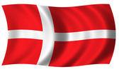 Flag of denmark in wave — Stock Photo