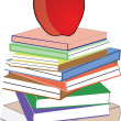 Apple in red on top of collection of books — Stock Vector
