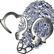 Hand cuffs and thumb print — Stock Vector #10623786