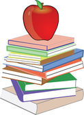 Apple in red on top of collection of books — Cтоковый вектор
