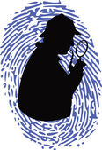 Detective on thumbprint — Stock Vector