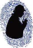 Dedektif üzerinde parmak izi — Stok Vektör