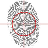 Target unique identity with thumbprint — Stock Vector