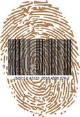 Thumbprint and bar code — Stock Vector