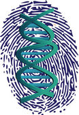 Dna imprint on thumbprint — Stock Vector