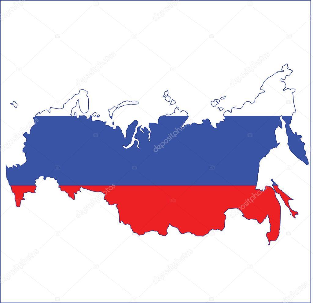 在俄罗斯国旗颜色的俄罗斯地图