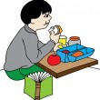 Stock Vector: Boy at lunch at school