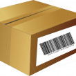 Stock Vector: Brown box with bar code
