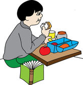Boy at lunch at school — Stock Vector