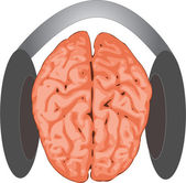 Concept of brain listening to music with a headphone — Stock Vector